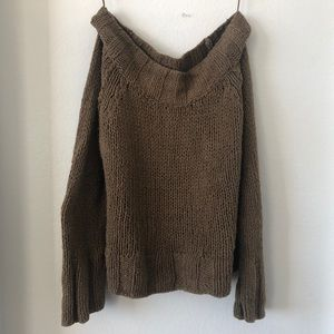 Free People off shoulder green sweater size small